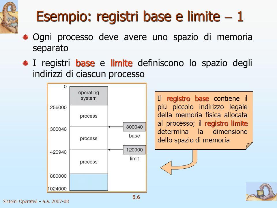 Sistemi Operativi a.a. 2007-08 8.6 Esempio: registri base e limite 1 Ogni processo deve avere uno spazio di memoria separato baselimite I registri bas