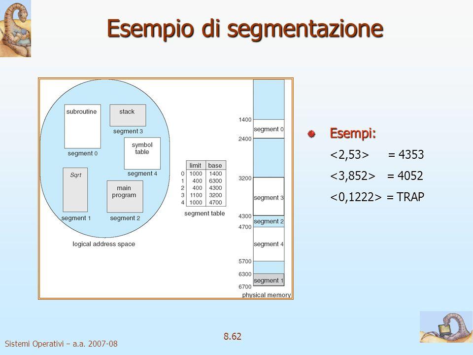 Sistemi Operativi a.a. 2007-08 8.62 Esempio di segmentazione Esempi: Esempi: 4353 4353 4052 4052 TRAP TRAP