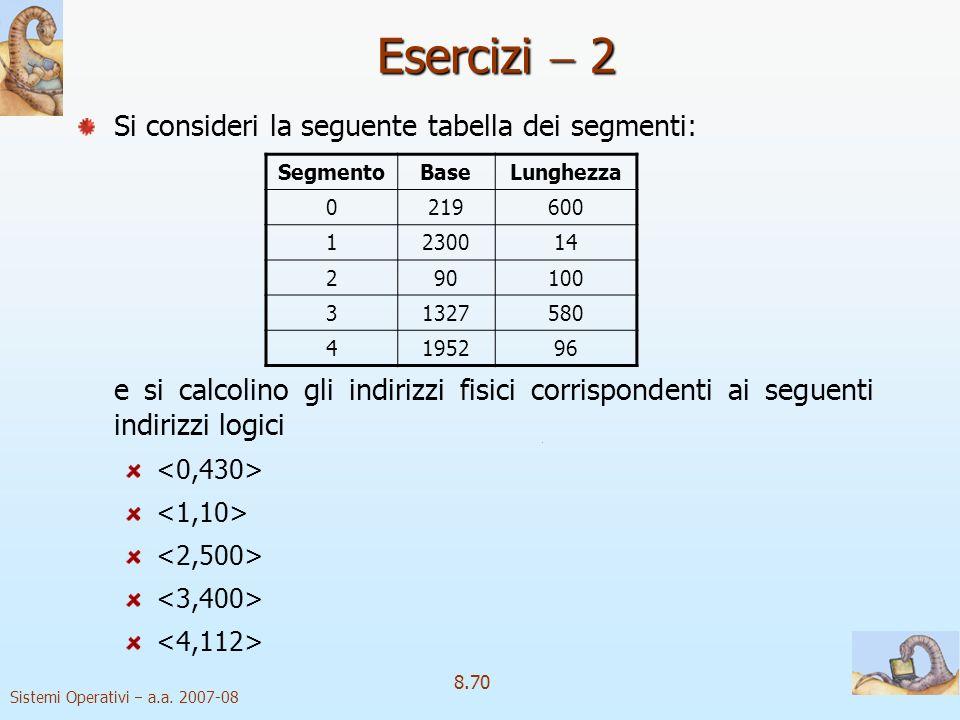 Sistemi Operativi a.a. 2007-08 8.70 Si consideri la seguente tabella dei segmenti: e si calcolino gli indirizzi fisici corrispondenti ai seguenti indi