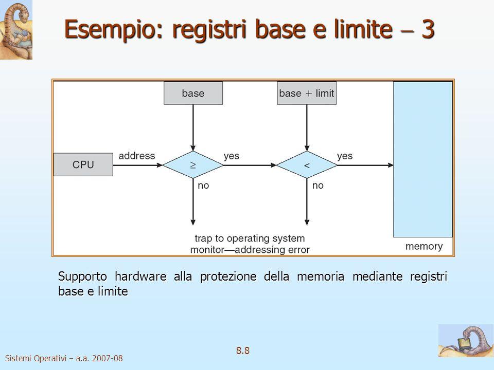 Sistemi Operativi a.a. 2007-08 8.8 Supporto hardware alla protezione della memoria mediante registri base e limite Esempio: registri base e limite 3