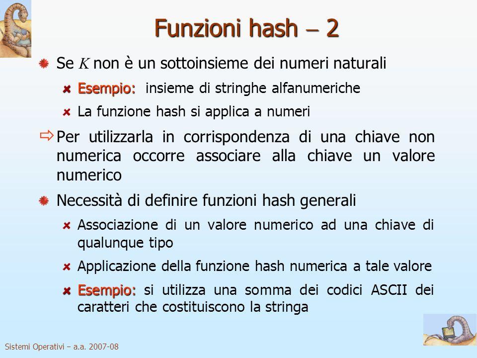 Sistemi Operativi a.a. 2007-08 Funzioni hash 2 Se K non è un sottoinsieme dei numeri naturali Esempio: Esempio: insieme di stringhe alfanumeriche La f