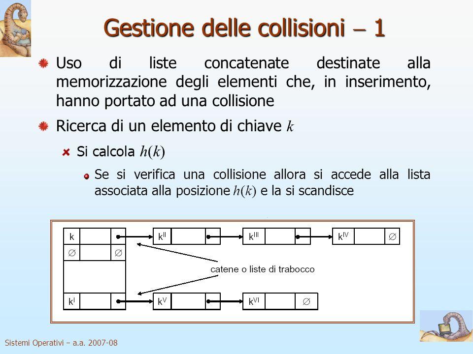 Sistemi Operativi a.a. 2007-08 Gestione delle collisioni 1 Uso di liste concatenate destinate alla memorizzazione degli elementi che, in inserimento,