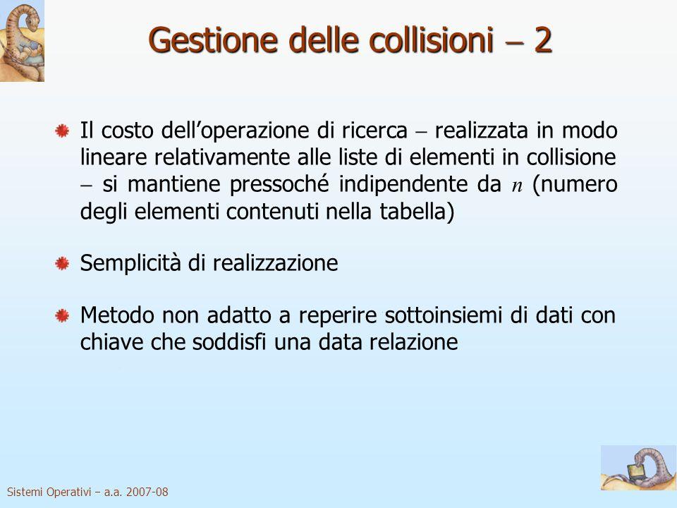 Sistemi Operativi a.a. 2007-08 Gestione delle collisioni 2 Il costo delloperazione di ricerca realizzata in modo lineare relativamente alle liste di e