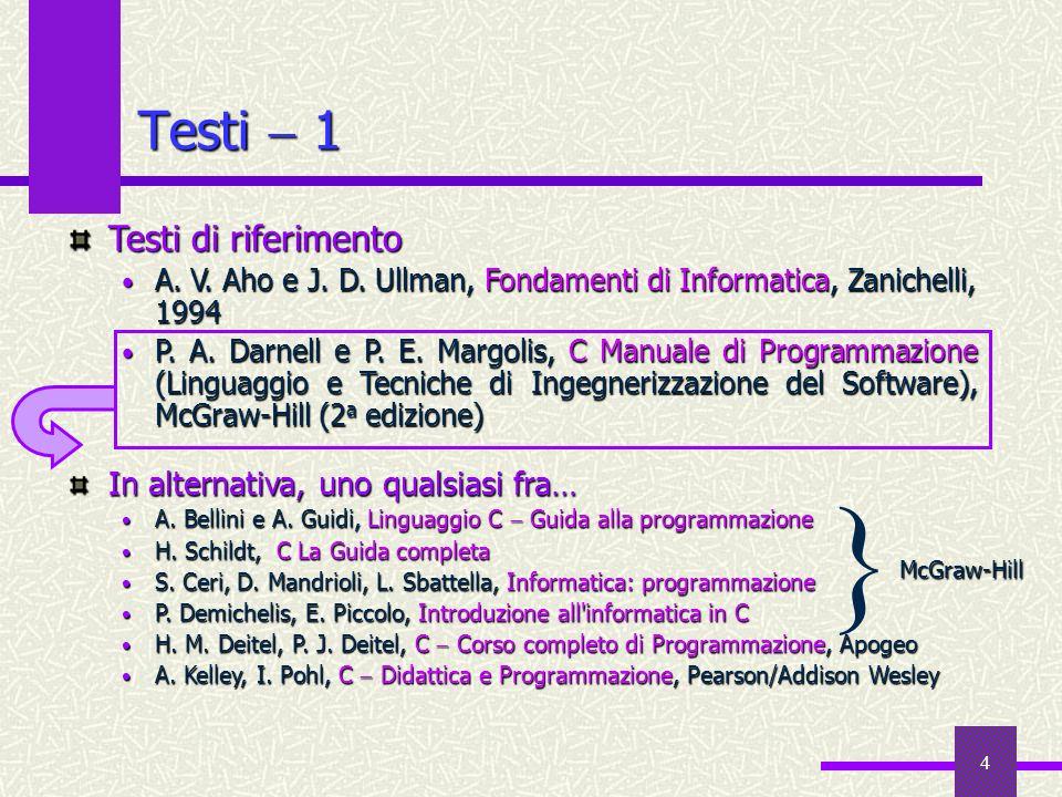 4 Testi 1 In alternativa, uno qualsiasi fra… A. Bellini e A. Guidi, Linguaggio C Guida alla programmazione A. Bellini e A. Guidi, Linguaggio C Guida a