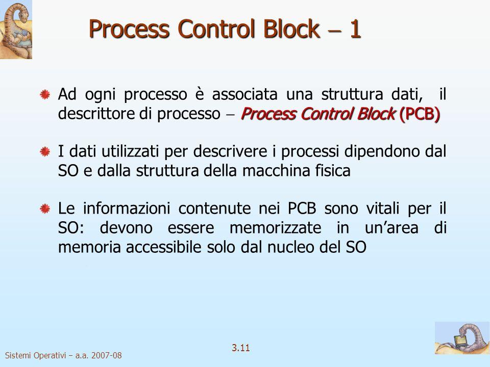 Sistemi Operativi a.a. 2007-08 3.11 Process Control Block 1 Process Control Block (PCB) Ad ogni processo è associata una struttura dati, il descrittor