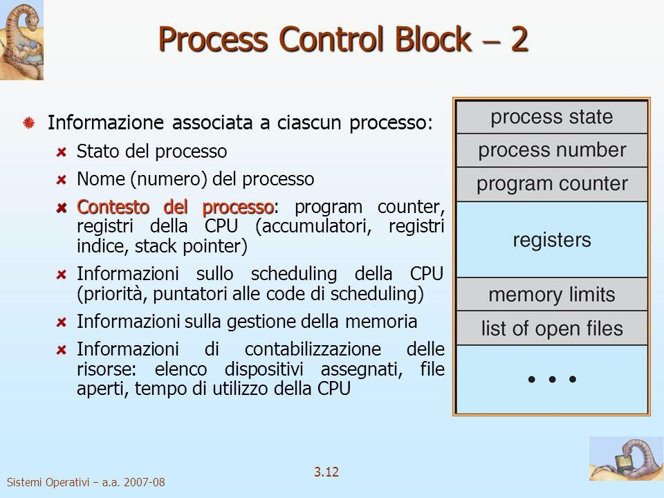 Sistemi Operativi a.a. 2007-08 3.12 Process Control Block 2 Informazione associata a ciascun processo: Stato del processo Nome (numero) del processo C