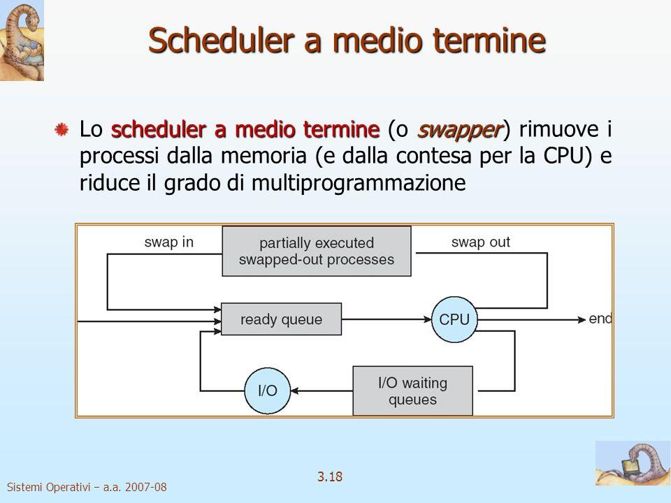 Sistemi Operativi a.a. 2007-08 3.18 Scheduler a medio termine scheduler a medio termineswapper Lo scheduler a medio termine (o swapper ) rimuove i pro