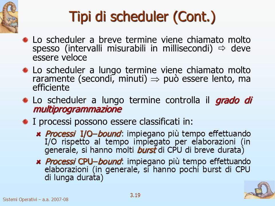 Sistemi Operativi a.a. 2007-08 3.19 Tipi di scheduler (Cont.) Lo scheduler a breve termine viene chiamato molto spesso (intervalli misurabili in milli