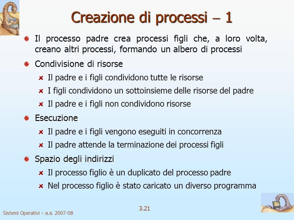Sistemi Operativi a.a. 2007-08 3.21 Creazione di processi 1 Il processo padre crea processi figli che, a loro volta, creano altri processi, formando u