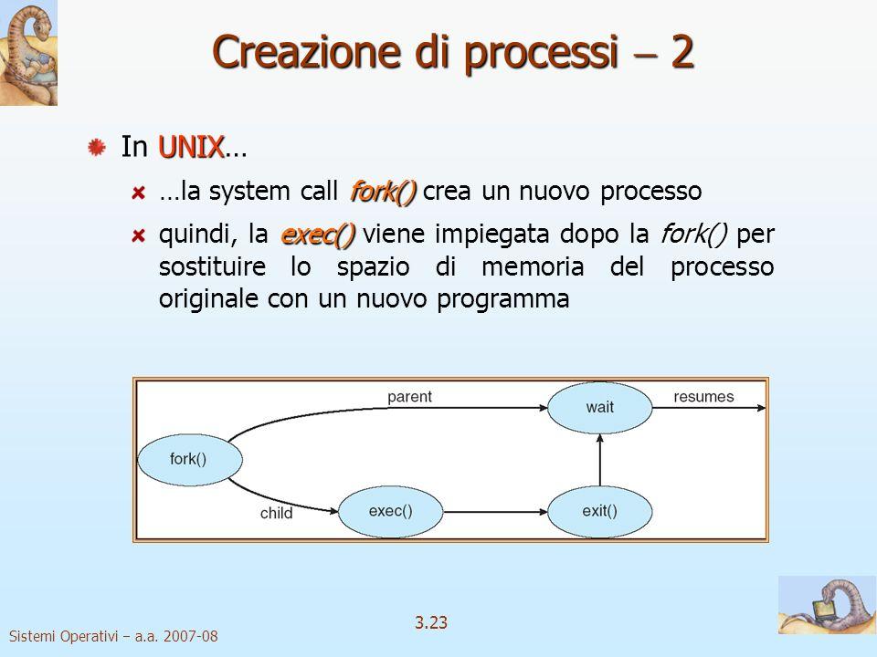 Sistemi Operativi a.a. 2007-08 3.23 UNIX In UNIX… fork() …la system call fork() crea un nuovo processo exec()fork() quindi, la exec() viene impiegata