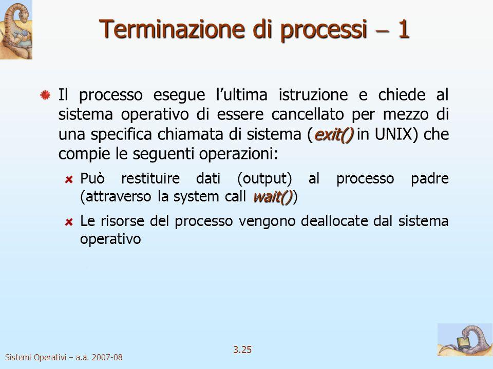 Sistemi Operativi a.a. 2007-08 3.25 Terminazione di processi 1 exit() UNIX Il processo esegue lultima istruzione e chiede al sistema operativo di esse