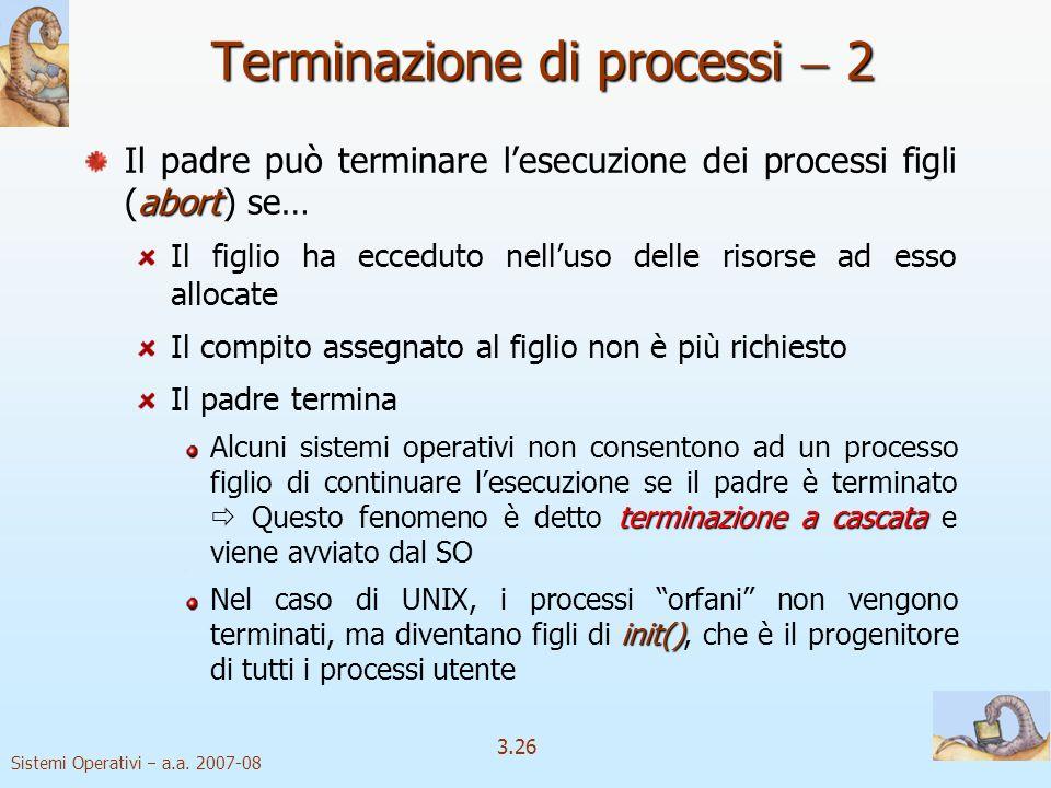Sistemi Operativi a.a. 2007-08 3.26 Terminazione di processi 2 abort Il padre può terminare lesecuzione dei processi figli (abort ) se… Il figlio ha e