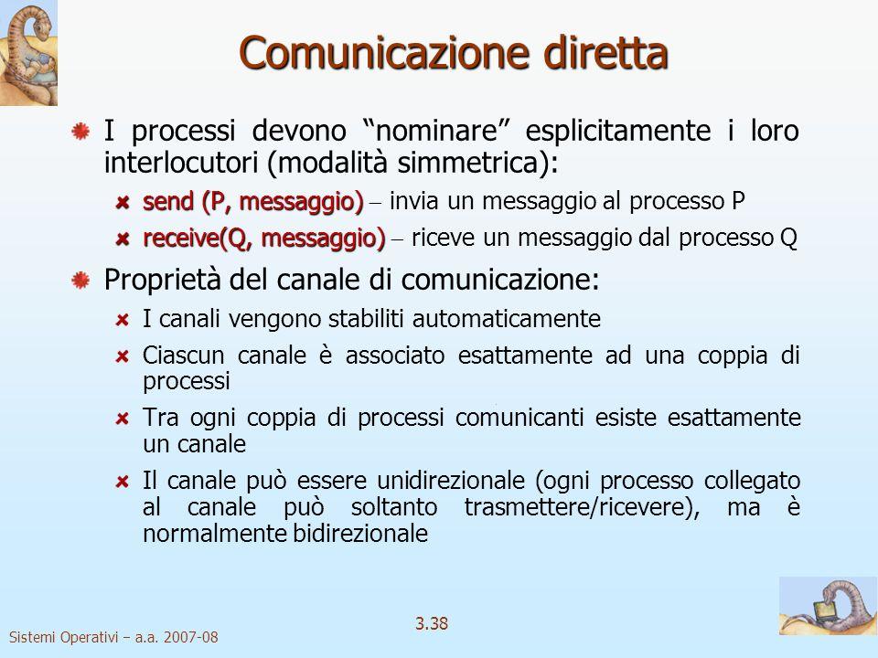 Sistemi Operativi a.a. 2007-08 3.38 Comunicazione diretta I processi devono nominare esplicitamente i loro interlocutori (modalità simmetrica): send (