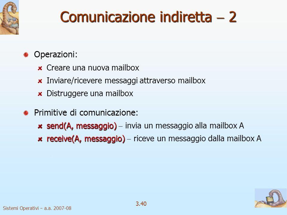 Sistemi Operativi a.a. 2007-08 3.40 Operazioni: Creare una nuova mailbox Inviare/ricevere messaggi attraverso mailbox Distruggere una mailbox Primitiv