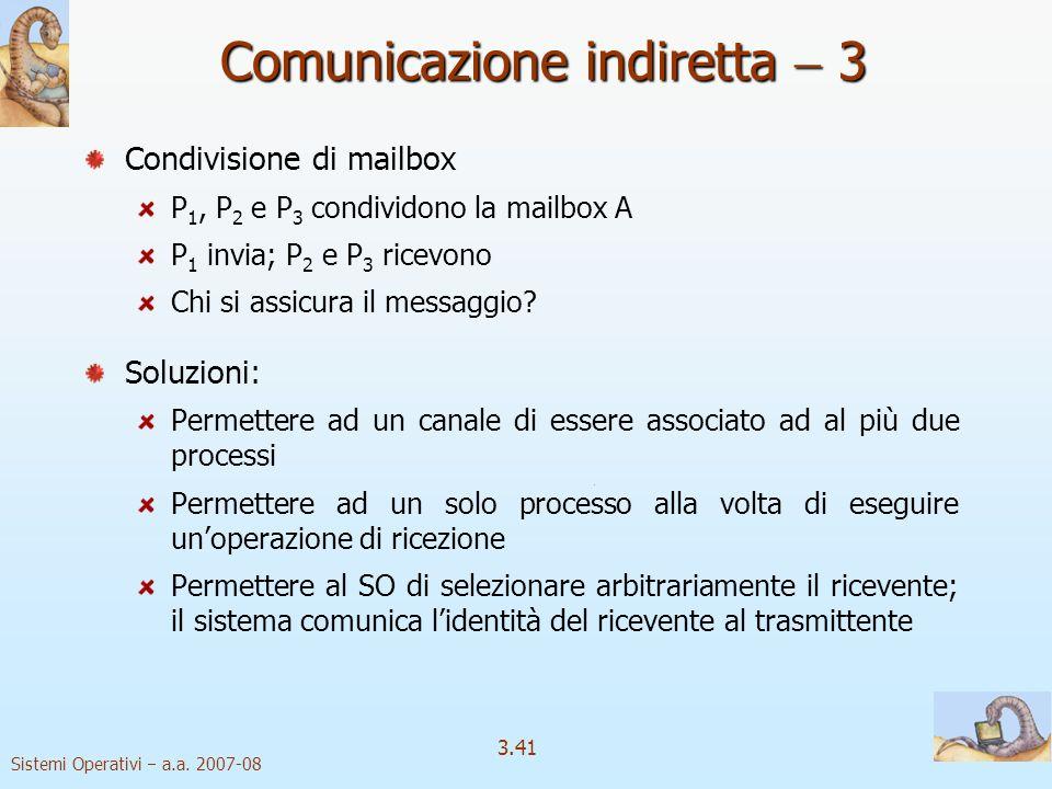 Sistemi Operativi a.a. 2007-08 3.41 Condivisione di mailbox P 1, P 2 e P 3 condividono la mailbox A P 1 invia; P 2 e P 3 ricevono Chi si assicura il m