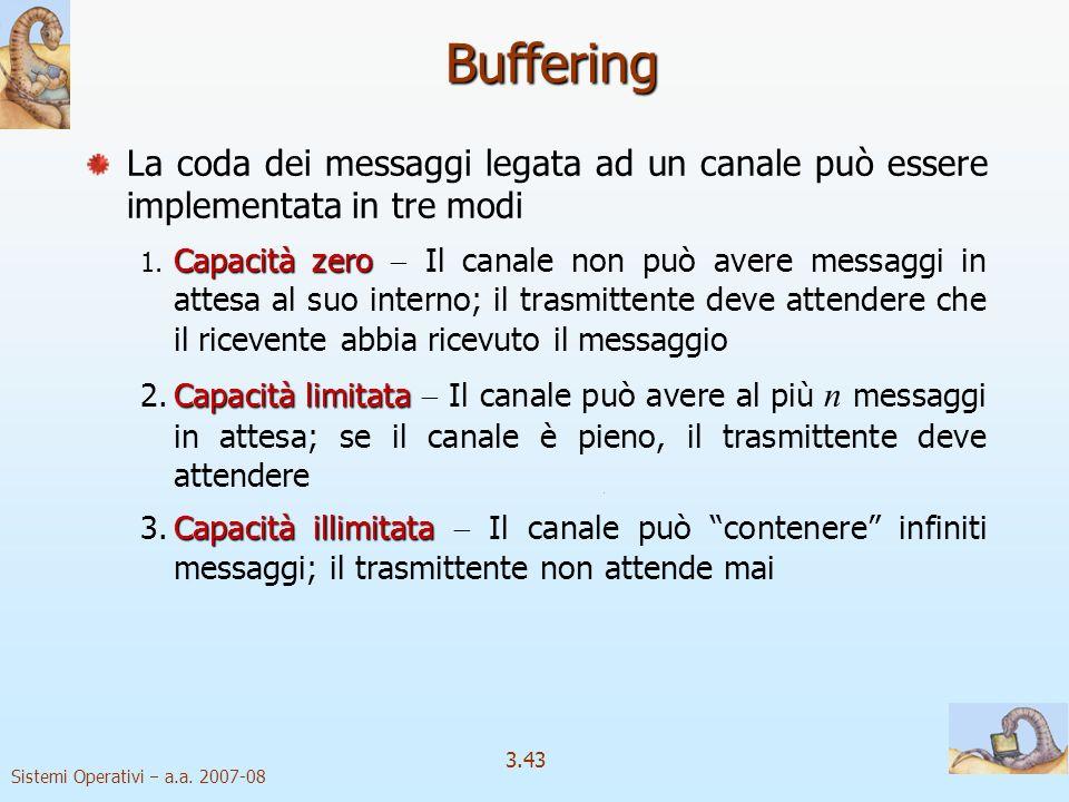 Sistemi Operativi a.a. 2007-08 3.43 Buffering La coda dei messaggi legata ad un canale può essere implementata in tre modi Capacità zero 1. Capacità z