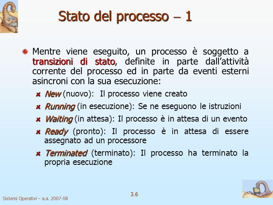 Sistemi Operativi a.a. 2007-08 3.6 Stato del processo 1 transizioni distato Mentre viene eseguito, un processo è soggetto a transizioni di stato, defi