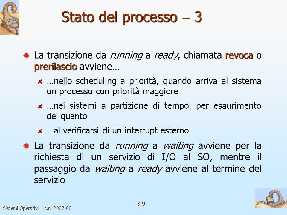 Sistemi Operativi a.a. 2007-08 3.9 Stato del processo 3 runningreadyrevoca prerilascio La transizione da running a ready, chiamata revoca o prerilasci