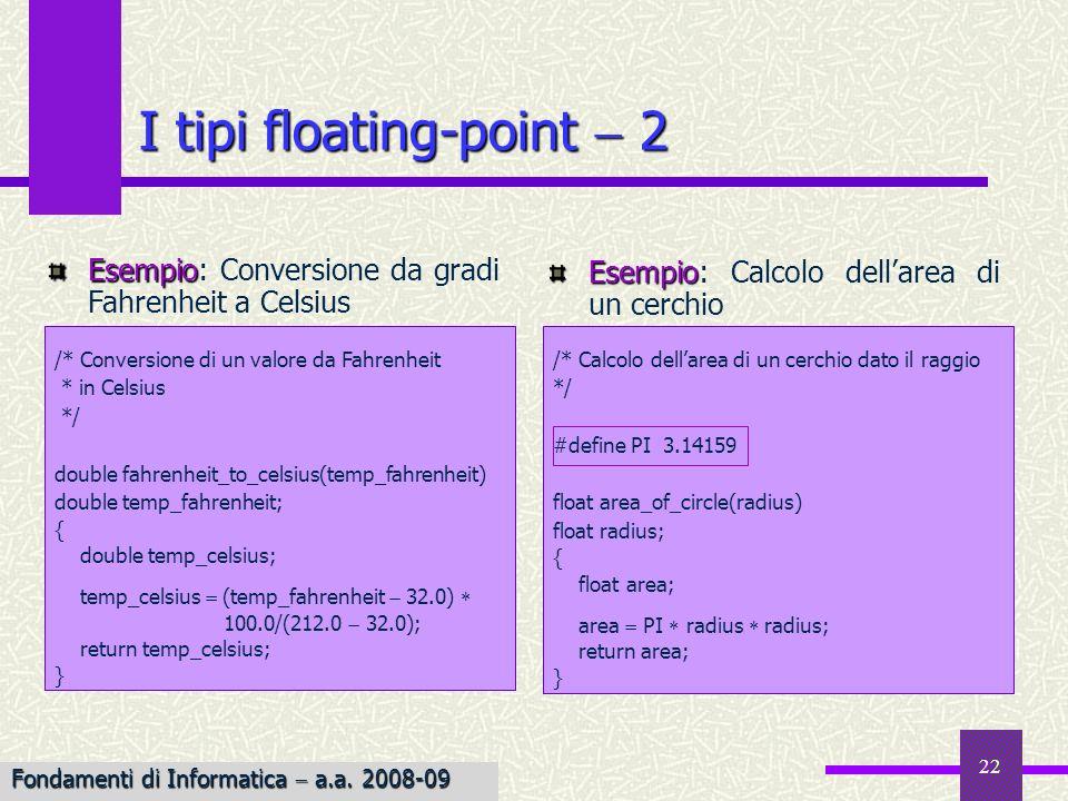 22 Esempio Esempio: Calcolo dellarea di un cerchio I tipi floating-point 2 /* Calcolo dellarea di un cerchio dato il raggio */ #define PI 3.14159 floa