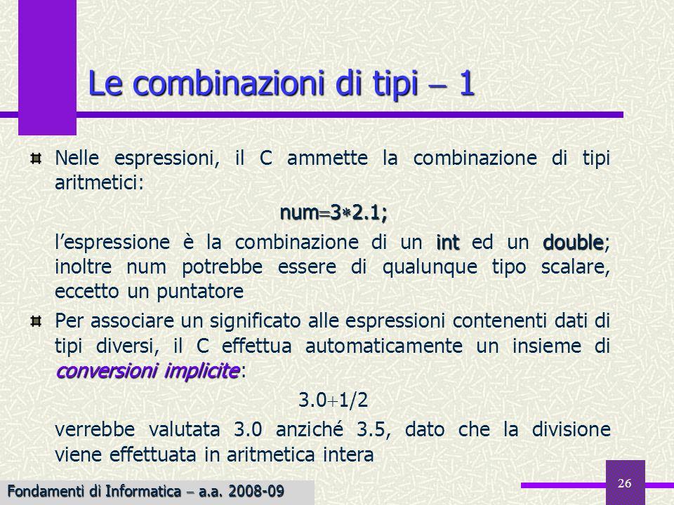 26 Nelle espressioni, il C ammette la combinazione di tipi aritmetici: num 3 2.1; intdouble lespressione è la combinazione di un int ed un double; ino