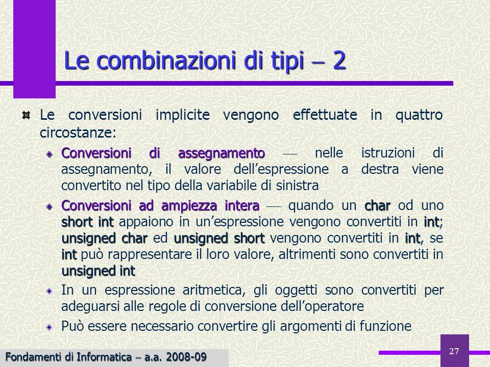 27 Le conversioni implicite vengono effettuate in quattro circostanze: Conversioni di assegnamento Conversioni di assegnamento nelle istruzioni di ass