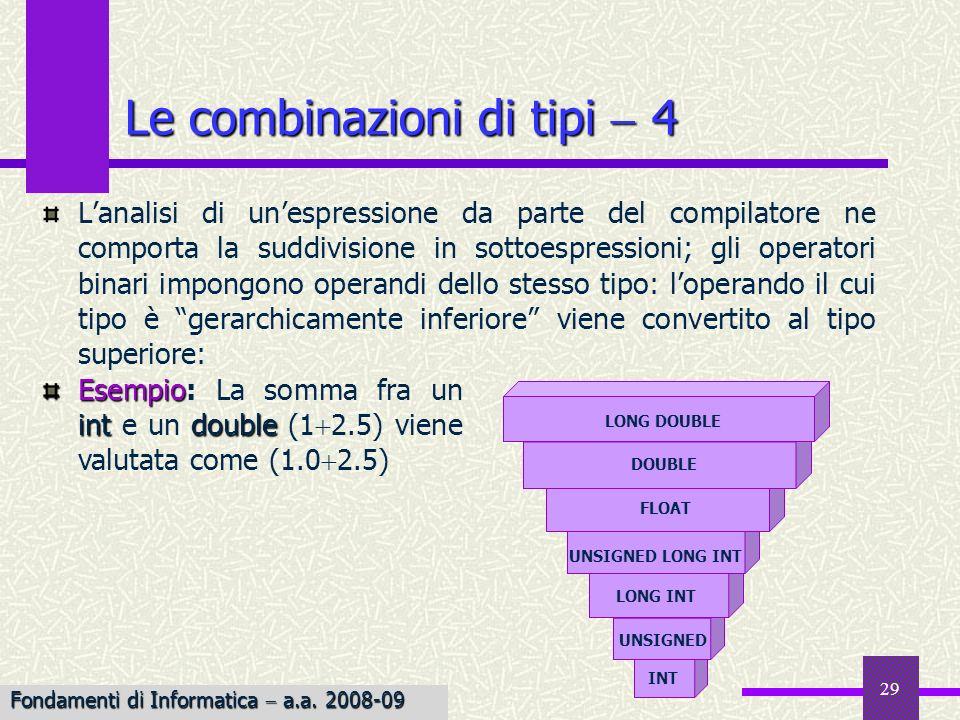 29 Le combinazioni di tipi 4 Lanalisi di unespressione da parte del compilatore ne comporta la suddivisione in sottoespressioni; gli operatori binari