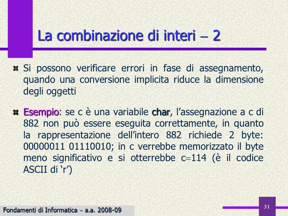 31 Si possono verificare errori in fase di assegnamento, quando una conversione implicita riduce la dimensione degli oggetti Esempiochar Esempio: se c