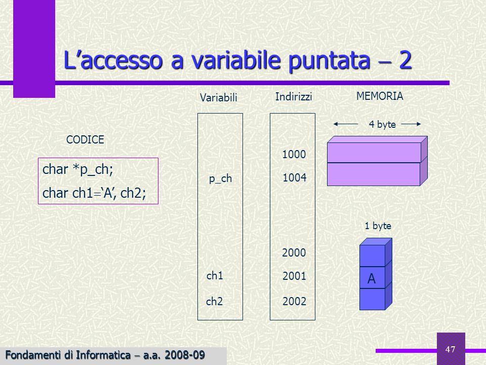 47 Laccesso a variabile puntata 2 Variabili 1 byte 4 byte ch2 2000 1004 1000 2001 CODICE 2002 p_ch ch1 Indirizzi MEMORIA char *p_ch; char ch1 A, ch2;