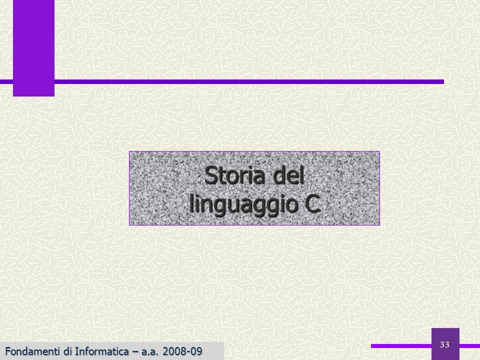 33 Storia del linguaggio C Fondamenti di Informatica – a.a. 2008-09