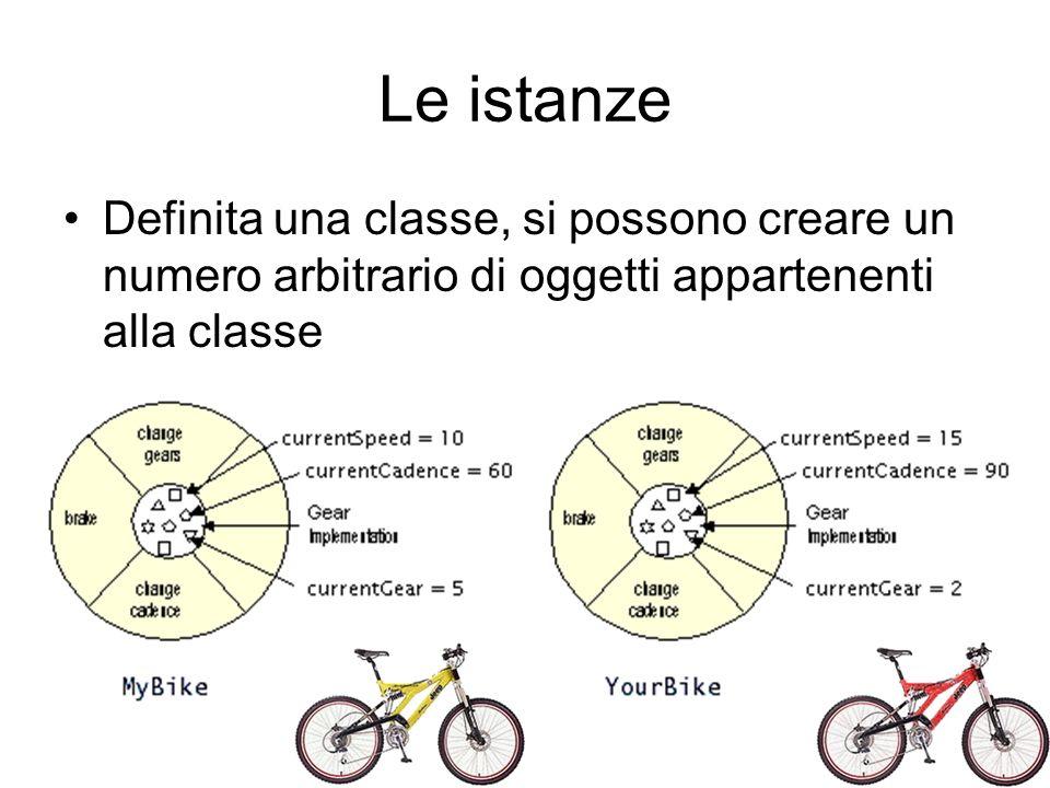 Le istanze Definita una classe, si possono creare un numero arbitrario di oggetti appartenenti alla classe