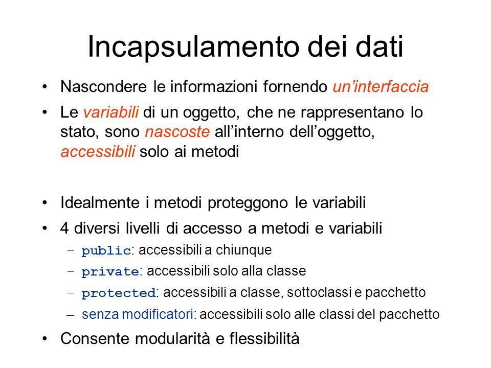Incapsulamento dei dati Nascondere le informazioni fornendo uninterfaccia Le variabili di un oggetto, che ne rappresentano lo stato, sono nascoste all