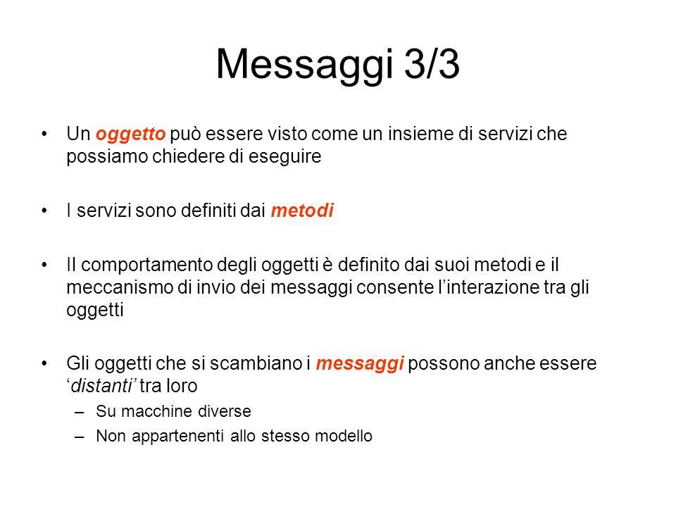 Messaggi 3/3 Un oggetto può essere visto come un insieme di servizi che possiamo chiedere di eseguire I servizi sono definiti dai metodi Il comportame