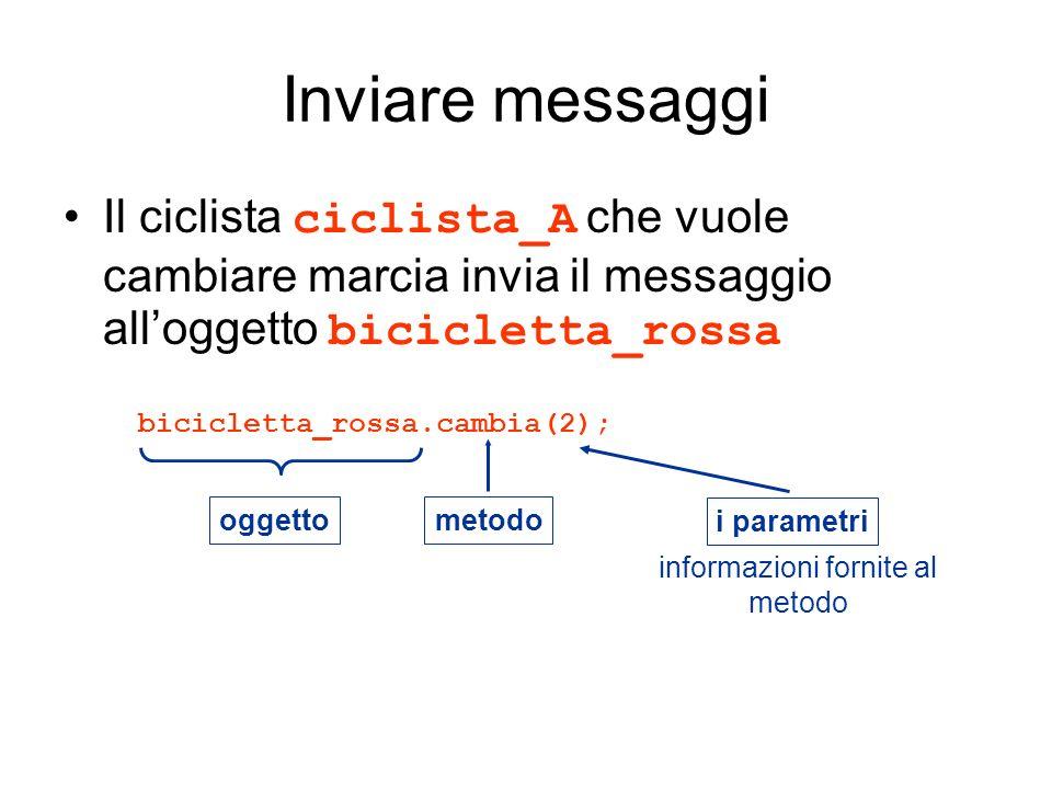 Inviare messaggi Il ciclista ciclista_A che vuole cambiare marcia invia il messaggio alloggetto bicicletta_rossa bicicletta_rossa.cambia(2); oggetto m