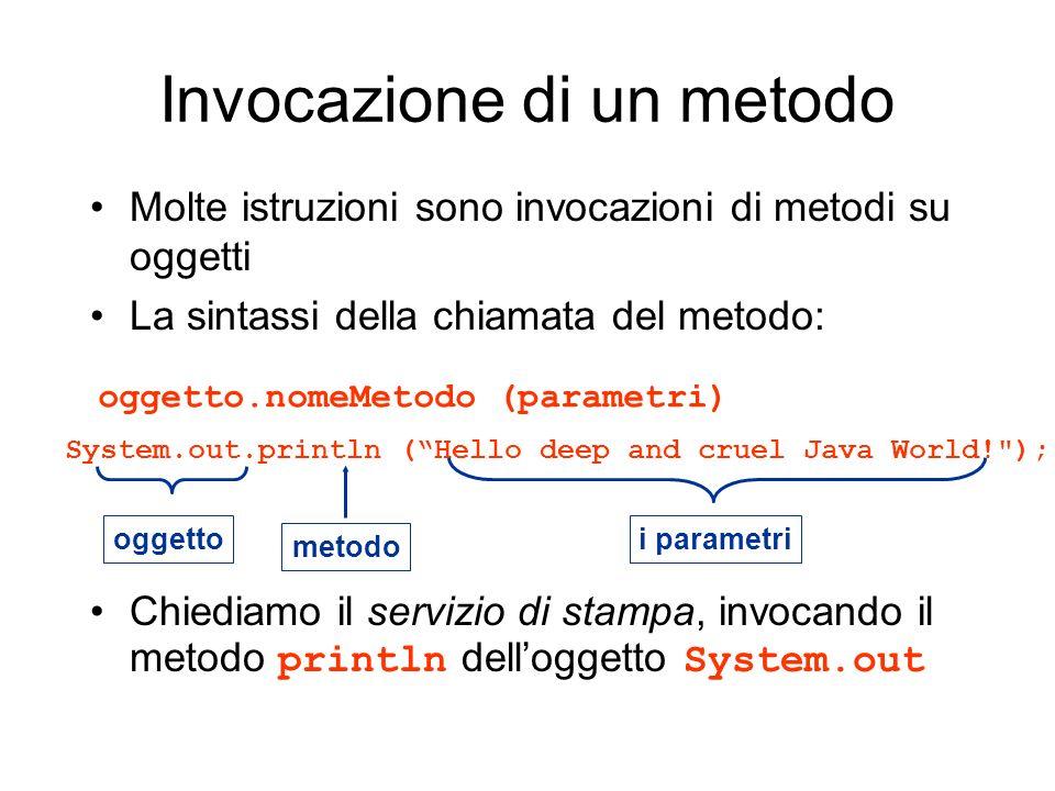 Invocazione di un metodo Molte istruzioni sono invocazioni di metodi su oggetti La sintassi della chiamata del metodo: Chiediamo il servizio di stampa