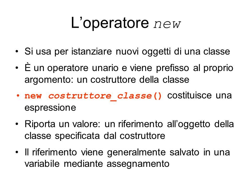 Loperatore new Si usa per istanziare nuovi oggetti di una classe È un operatore unario e viene prefisso al proprio argomento: un costruttore della cla