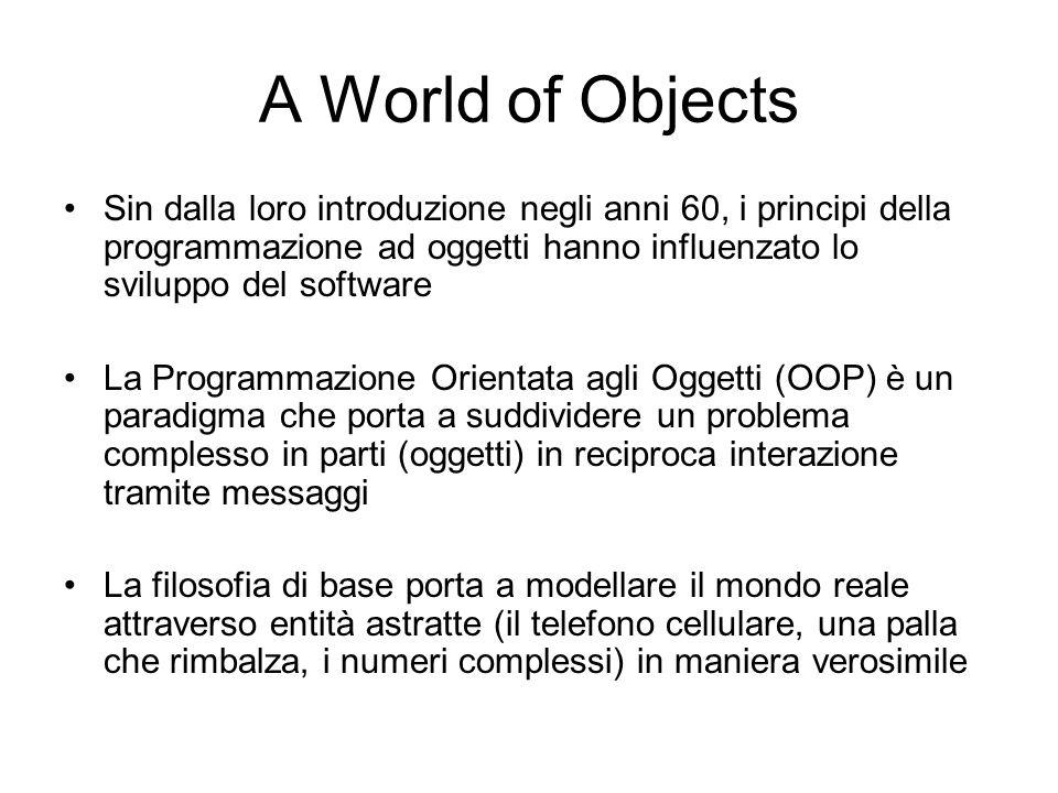 A World of Objects Sin dalla loro introduzione negli anni 60, i principi della programmazione ad oggetti hanno influenzato lo sviluppo del software La
