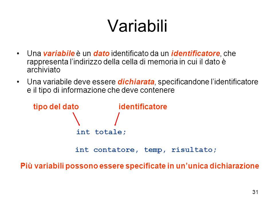 31 Variabili Una variabile è un dato identificato da un identificatore, che rappresenta lindirizzo della cella di memoria in cui il dato è archiviato