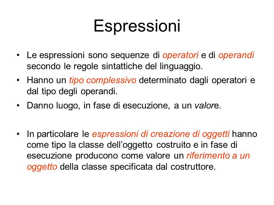 Espressioni Le espressioni sono sequenze di operatori e di operandi secondo le regole sintattiche del linguaggio. Hanno un tipo complessivo determinat