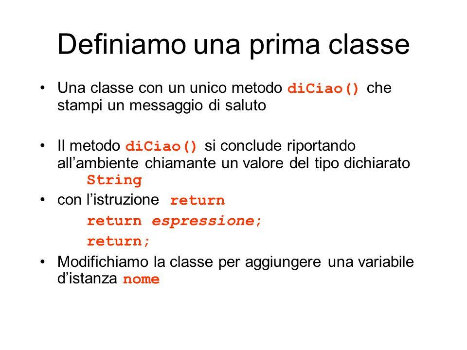 Definiamo una prima classe Una classe con un unico metodo diCiao() che stampi un messaggio di saluto Il metodo diCiao() si conclude riportando allambi