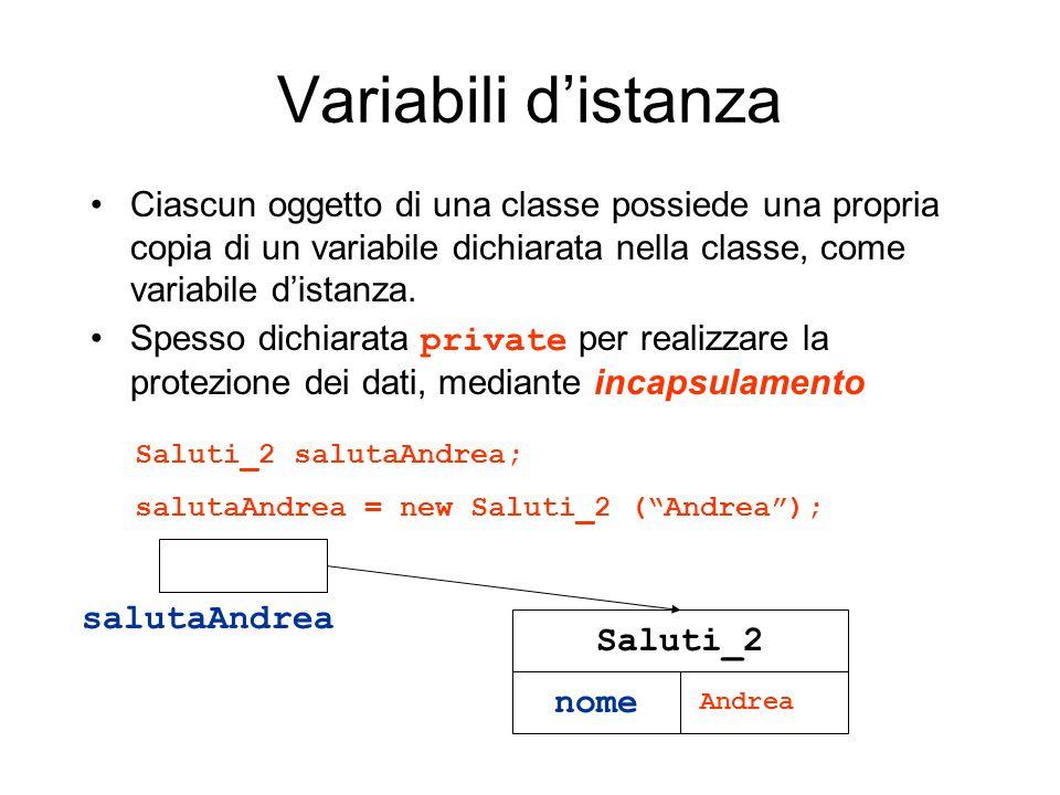 Variabili distanza Ciascun oggetto di una classe possiede una propria copia di un variabile dichiarata nella classe, come variabile distanza. Spesso d
