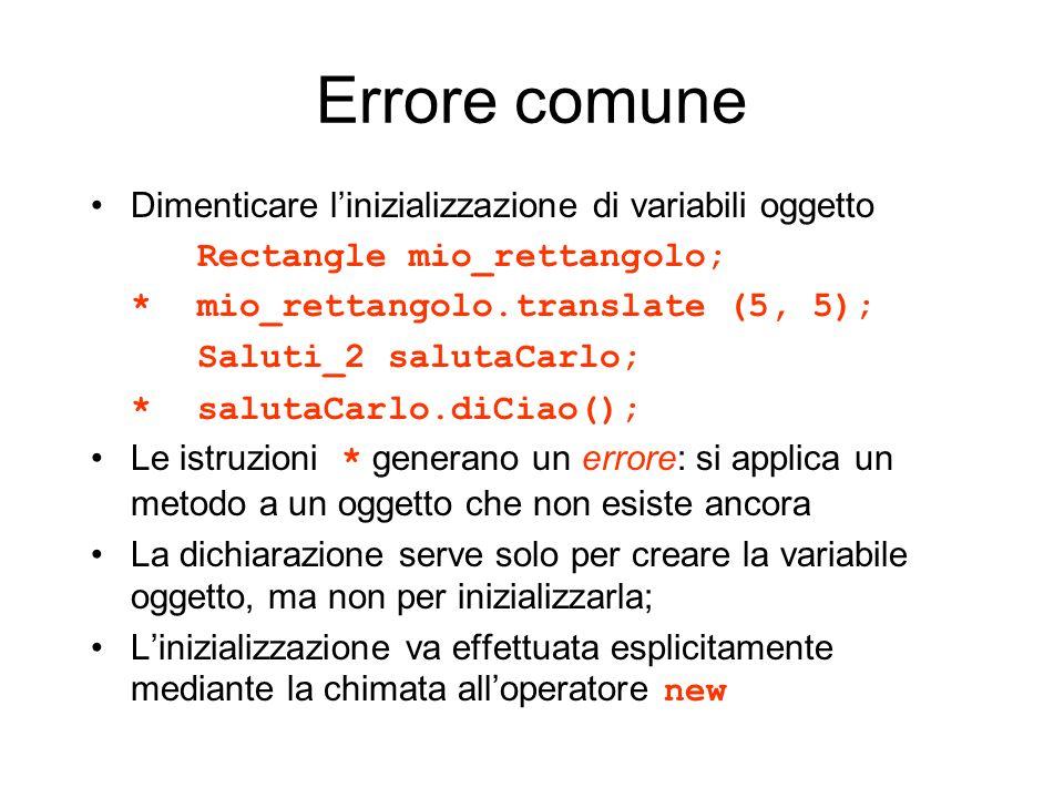 Errore comune Dimenticare linizializzazione di variabili oggetto Rectangle mio_rettangolo; *mio_rettangolo.translate (5, 5); Saluti_2 salutaCarlo; *sa