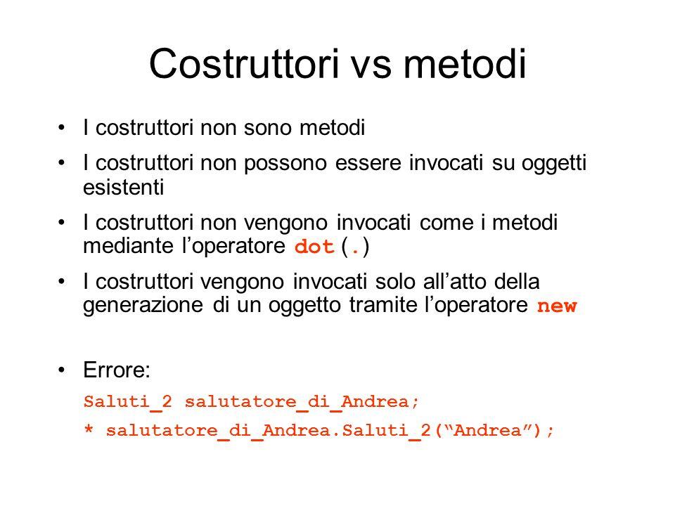 Costruttori vs metodi I costruttori non sono metodi I costruttori non possono essere invocati su oggetti esistenti I costruttori non vengono invocati