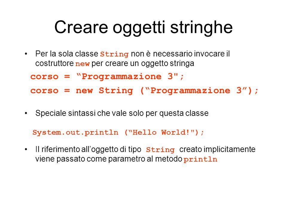Creare oggetti stringhe Per la sola classe String non è necessario invocare il costruttore new per creare un oggetto stringa corso = Programmazione 3