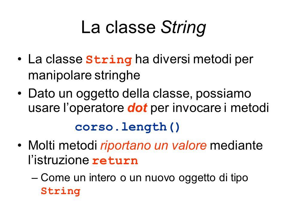 La classe String La classe String ha diversi metodi per manipolare stringhe Dato un oggetto della classe, possiamo usare loperatore dot per invocare i