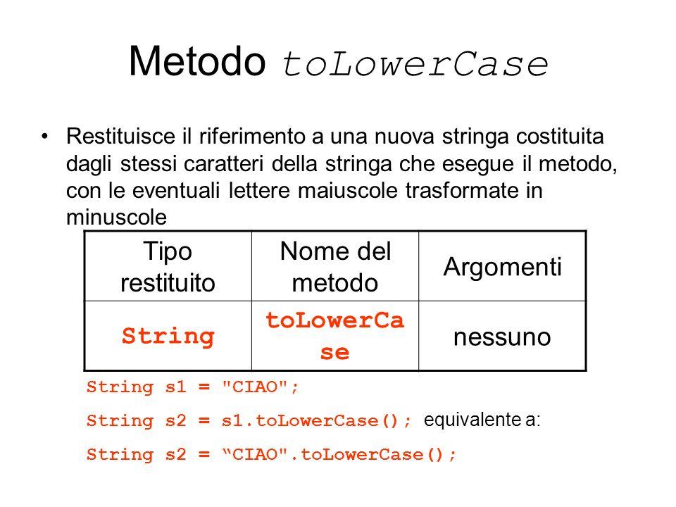 Metodo toLowerCase Restituisce il riferimento a una nuova stringa costituita dagli stessi caratteri della stringa che esegue il metodo, con le eventua
