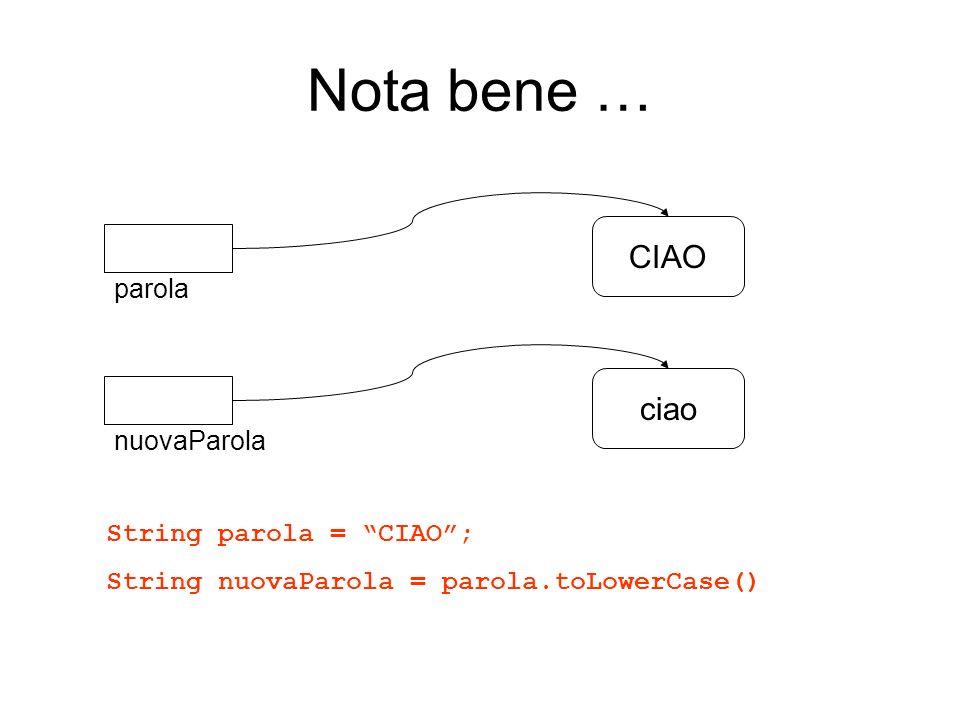 Nota bene … CIAO parola String parola = CIAO; String nuovaParola = parola.toLowerCase() ciao nuovaParola