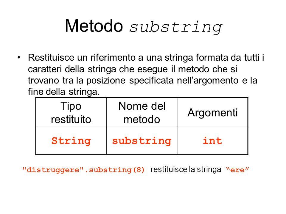 Metodo substring Restituisce un riferimento a una stringa formata da tutti i caratteri della stringa che esegue il metodo che si trovano tra la posizi