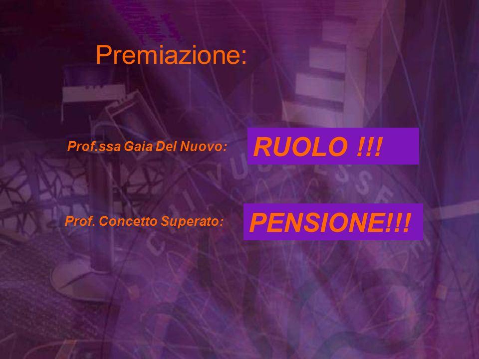 5 supplenze annuali 5 corsi daggiornamento Prof.ssa Gaia Del Nuovo: Premiazione: RUOLO !!.