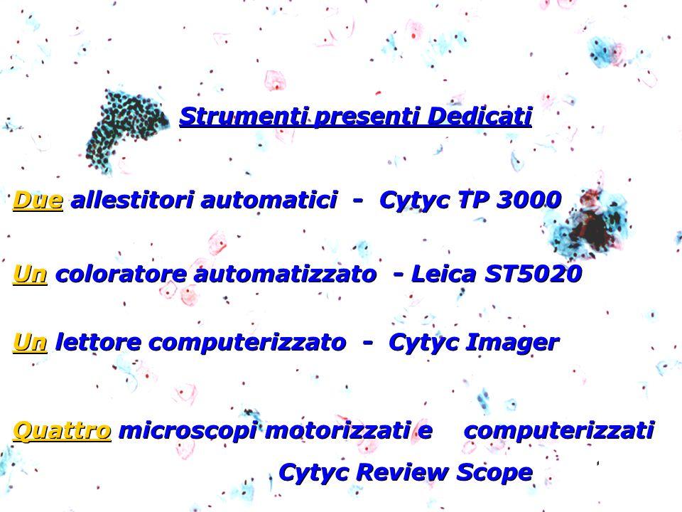 Strumenti presenti Dedicati Due allestitori automatici - Cytyc TP 3000 Un coloratore automatizzato - Leica ST5020 Un lettore computerizzato - Cytyc Im