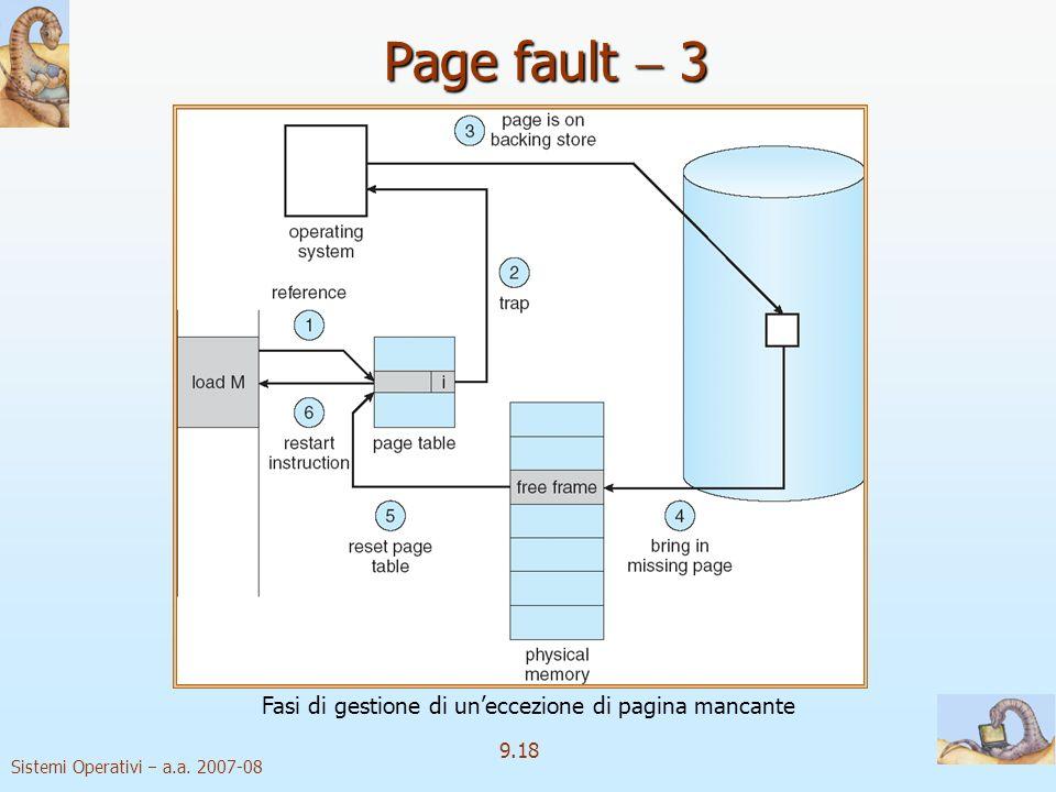 Sistemi Operativi a.a. 2007-08 9.17 Page fault 1 trap page fault Il primo riferimento ad una pagina causa una trap al sistema operativo page fault Il